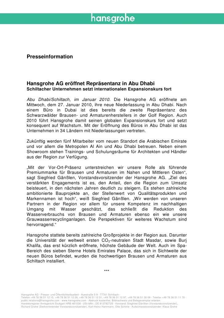 Presseinformation    Hansgrohe AG eröffnet Repräsentanz in Abu Dhabi    Schiltacher Unternehmen setzt internationalen Expa...