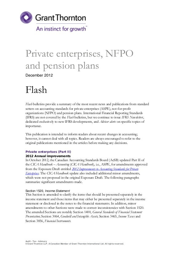 Private enterprises, NFPOand pension plansDecember 2012FlashFlash bulletins provide a summary of the most recent news and ...