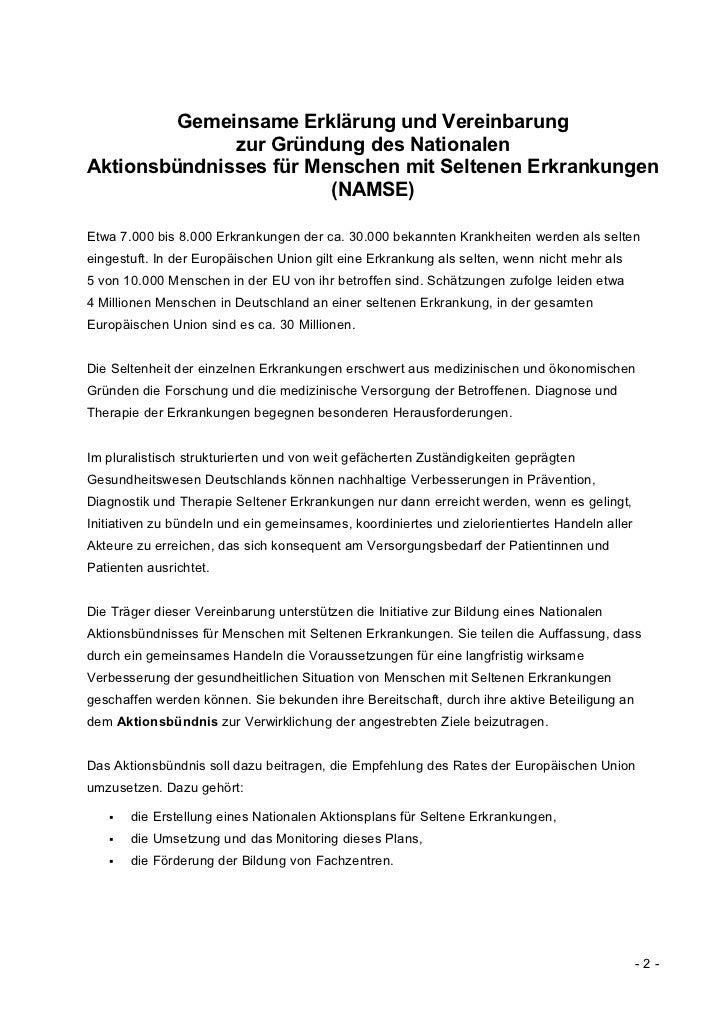 Gemeinsame Erklärung und Vereinbarung              zur Gründung des NationalenAktionsbündnisses für Menschen mit Seltenen ...