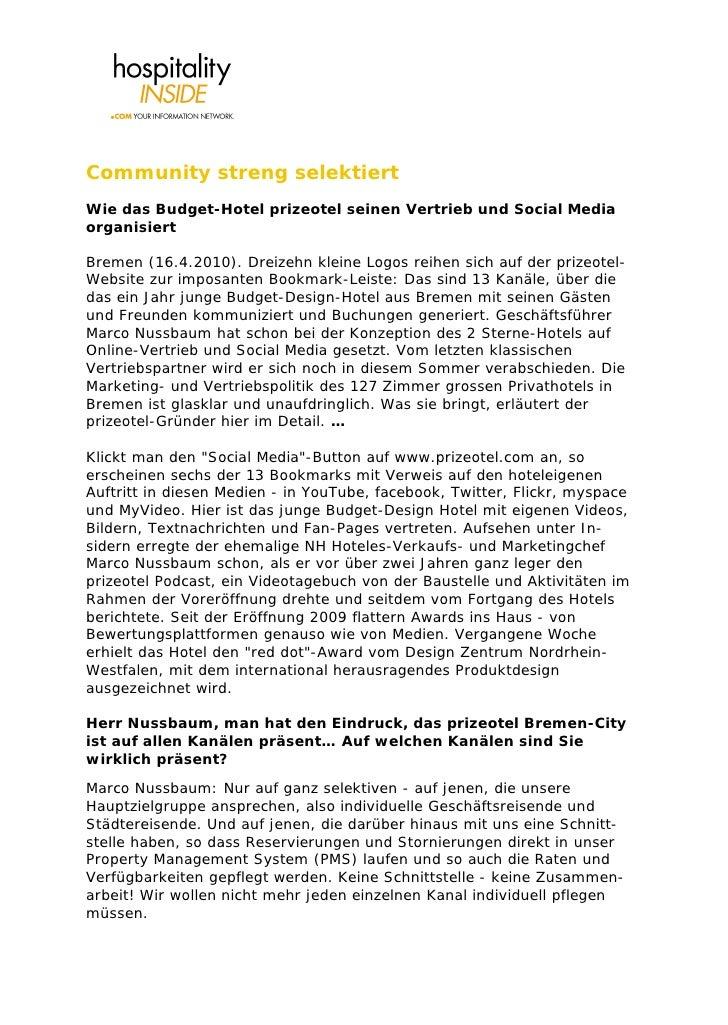 Community streng selektiert Wie das Budget-Hotel prizeotel seinen Vertrieb und Social Media organisiert  Bremen (16.4.2010...