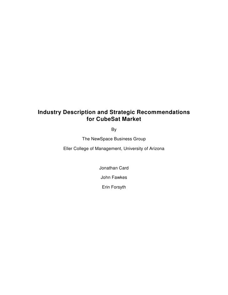Industry Description and Strategic Recommendations                  for CubeSat Market                                By  ...