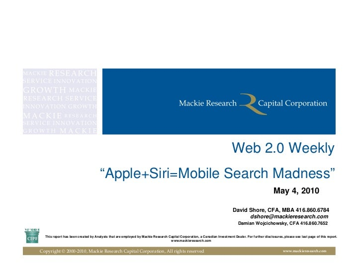 "Web 2.0 Weekly                                      ""Apple+Siri=Mobile Search Madness""                                    ..."