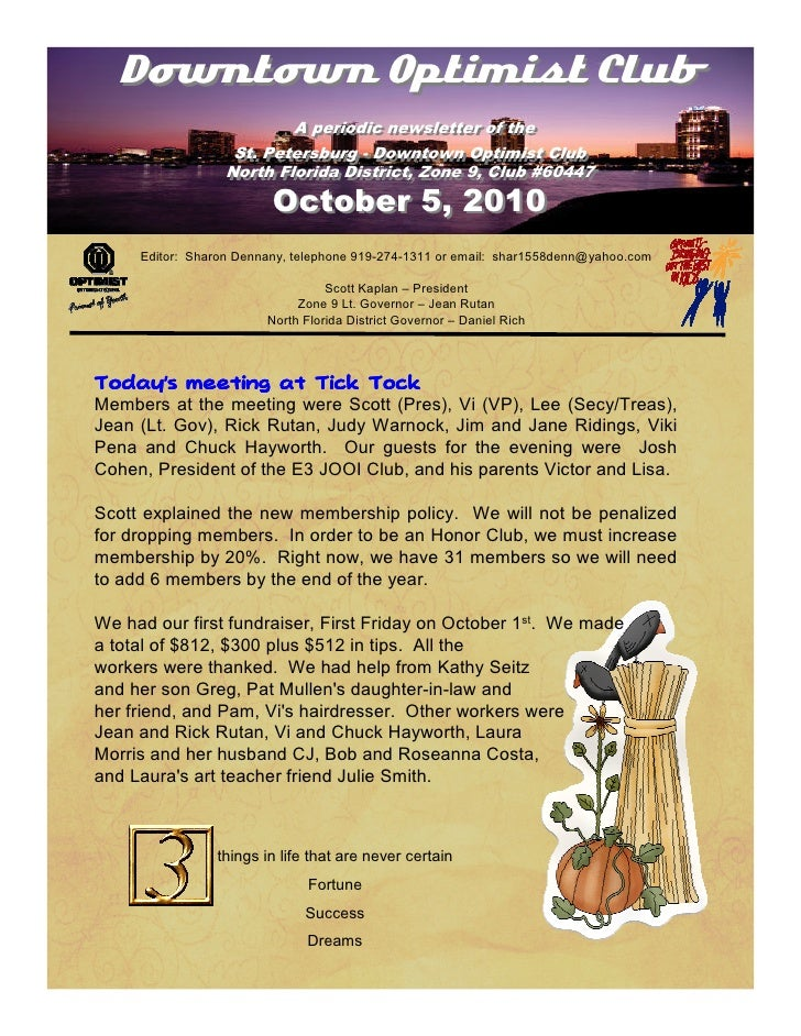 Downtown Optimist Club                                   A periodic newsletter of the                                    A...