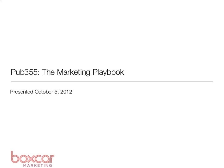 Pub355: The Marketing PlaybookPresented October 5, 2012