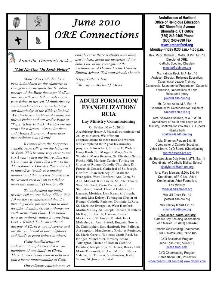 Archdiocese of Hartford                                June 2010                                                          ...