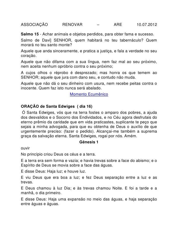 ASSOCIAÇÃO             RENOVAR               –     ARE         10.07.2012Salmo 15 - Achar animais e objetos perdidos, para...
