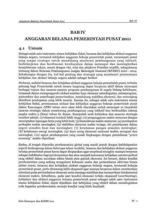 Nota Keuangan dan RAPBN 2011 (Bab IV)