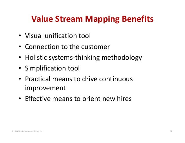 ©2013TheKarenMartinGroup,Inc. 21 ValueStreamMappingBenefits • Visualunificationtool • Connectiontothecustome...