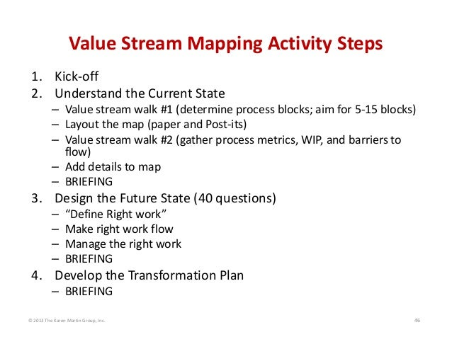 © 2013 The Karen Martin Group, Inc. 46 Value Stream Mapping Activity Steps 1. Kick‐off 2. Understand the Current State – V...