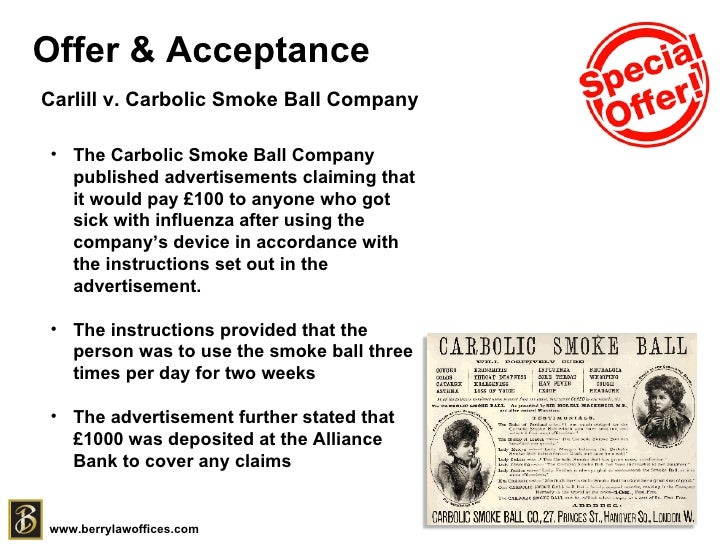 carlile vs carbolic smoke company La cause de emily carlill vs carbolic smoke ball co impliquait une recom carlill v carbolic smoke ball company has been an important case for nearly a century.