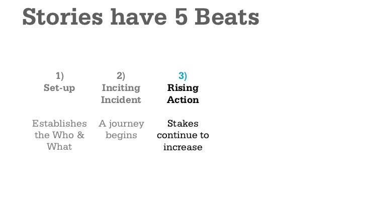 Stories have 5 Beats    1)           2)           3)           4)  Set-up      Inciting      Rising       Main            ...