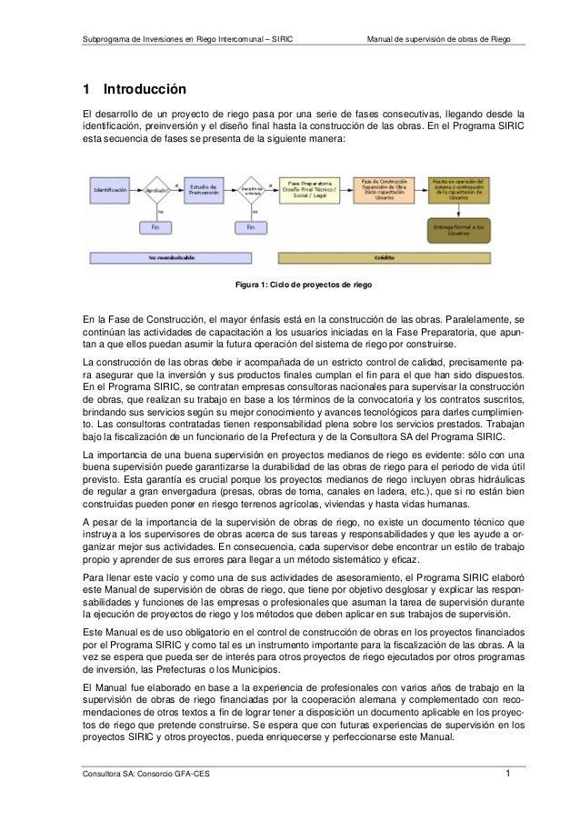 Subprograma de Inversiones en Riego Intercomunal – SIRIC Manual de supervisión de obras de Riego Consultora SA: Consorcio ...