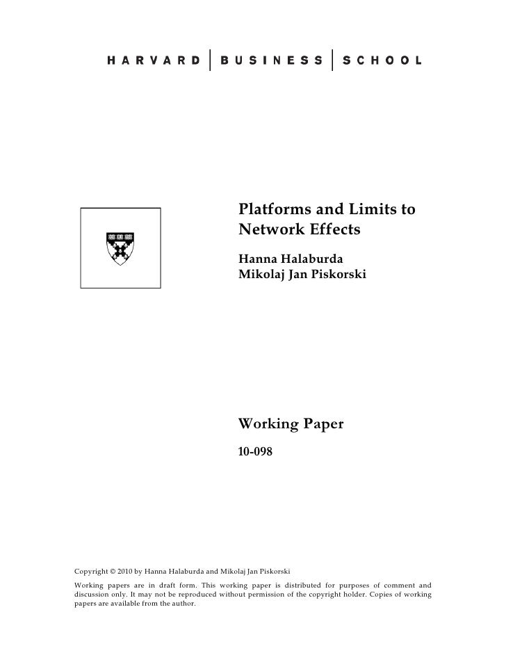 Platforms and Limits to                                                Network Effects                                    ...