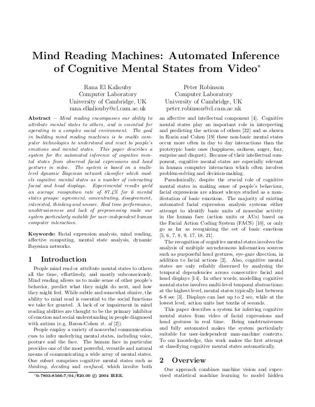 Mind Reading Machines: Automated Inference    of Cognitive Mental States from Video∗                        Rana El Kaliou...