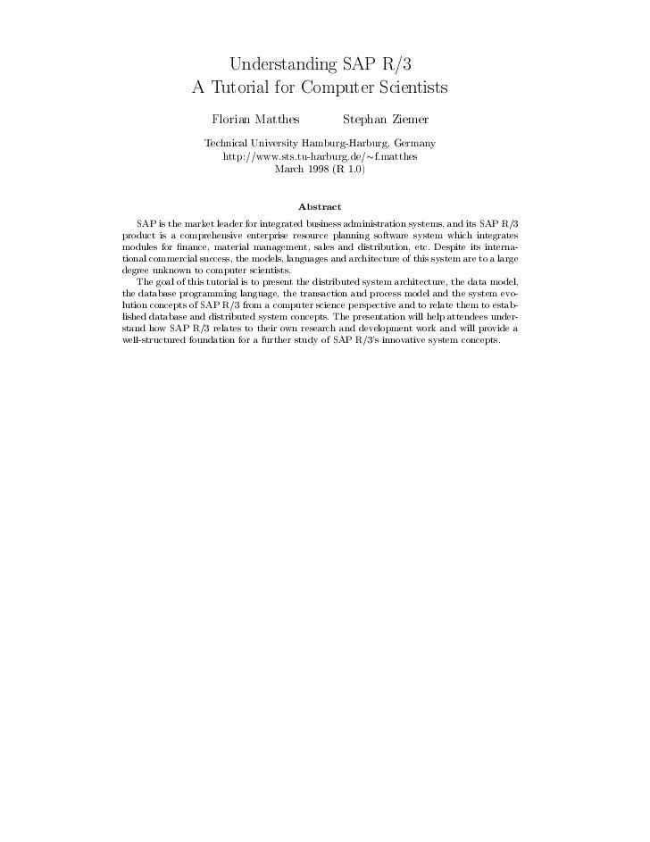 Understanding SAP R 3                 A Tutorial for Computer Scientists                     Florian Matthes              ...