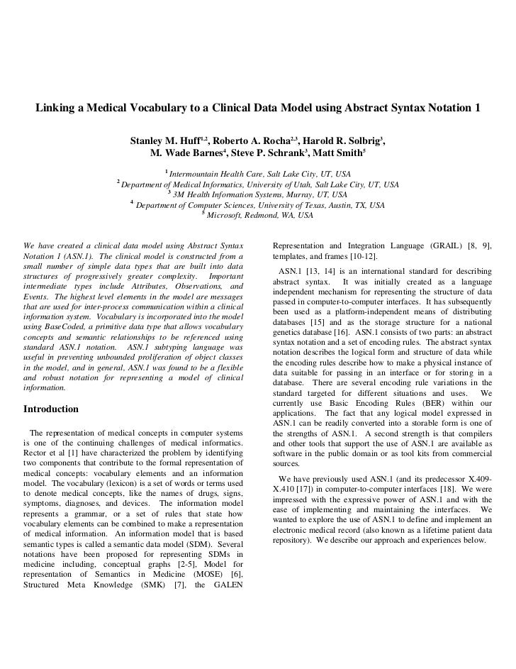 Linking a Medical Vocabulary to a Clinical Data Model using Abstract Syntax Notation 1                                Stan...