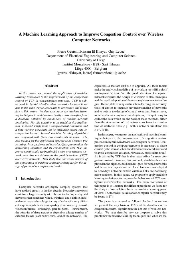 A Machine Learning Approach to Improve Congestion Control over Wireless                          Computer Networks        ...