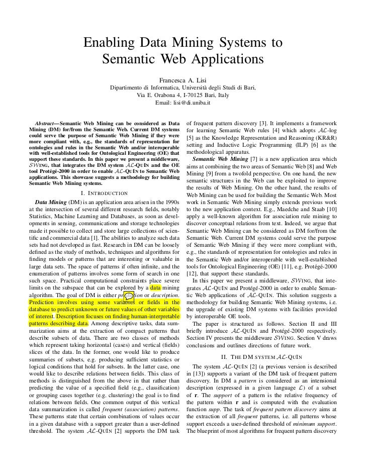 Enabling Data Mining Systems to                         Semantic Web Applications                                         ...