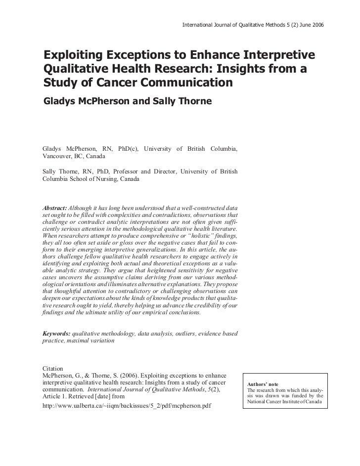International Journal of Qualitative Methods 5 (2) June 2006Exploiting Exceptions to Enhance InterpretiveQualitative Healt...