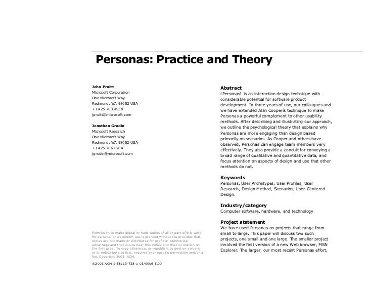 Personas: Practice and TheoryJohn Pruitt                                                                AbstractMicrosoft ...
