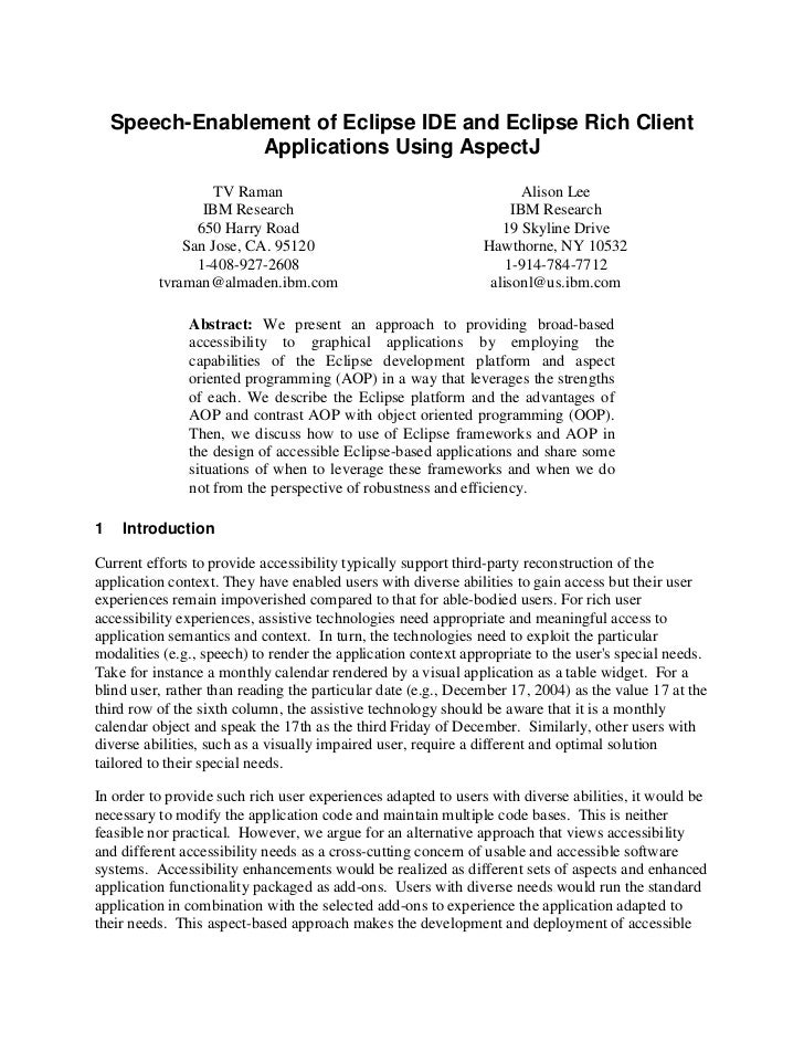 Speech-Enablement of Eclipse IDE and Eclipse Rich Client                 Applications Using AspectJ                   TV R...