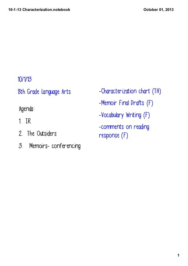 10­1­13 Characterization.notebook 1 October 01, 2013 10/1/13 8th Grade Language Arts Agenda: 1. IR 2. The Outsiders 3. Mem...