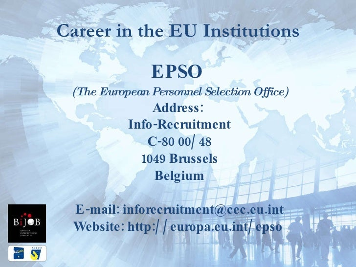 Living and working in belgium in 2010 presented by eures - European personnel selection office epso ...