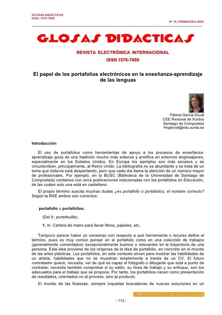 GLOSAS DIDÁCTICAS ISSN: 1576-7809                                                                                    Nº 14...