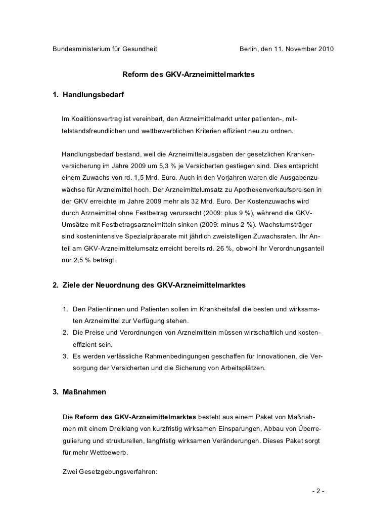 Bundesministerium für Gesundheit                               Berlin, den 11. November 2010                        Reform...