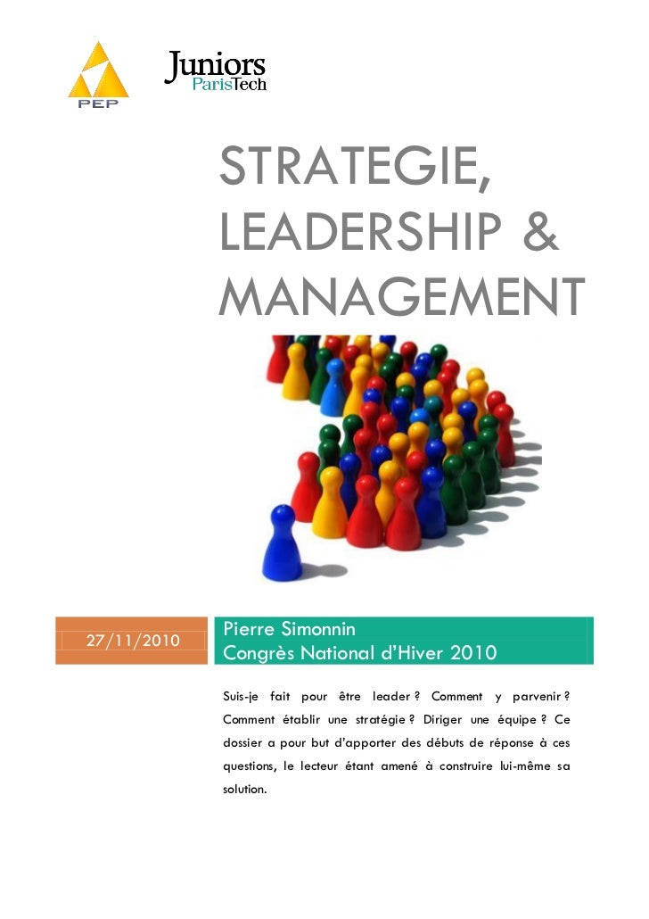 STRATEGIE,             LEADERSHIP &             MANAGEMENT27/11/2010             Pierre Simonnin             Congrès Natio...