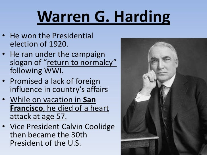 an analysis of warren hardings goals and speech return to normalcy