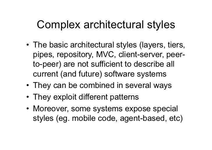 10 Architetture Software More architectural styles