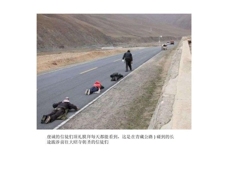 <ul><li>虔诚的信徒们顶礼膜拜每天都能看到,这是在青藏公路 ) 碰到的长途跋涉前往大昭寺朝圣的信徒们 </li></ul>