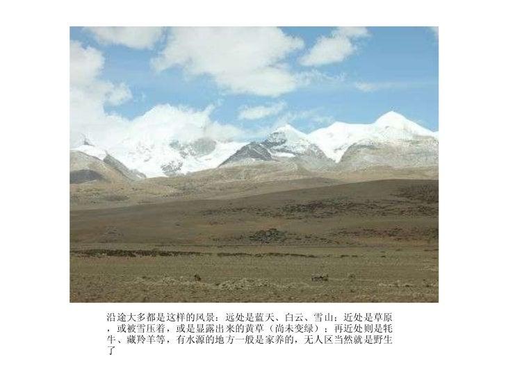 <ul><li>沿途大多都是这样的风景:远处是蓝天、白云、雪山;近处是草原,或被雪压着,或是显露出来的黄草(尚未变绿);再近处则是牦牛、藏羚羊等,有水源的地方一般是家养的,无人区当然就是野生了  </li></ul>