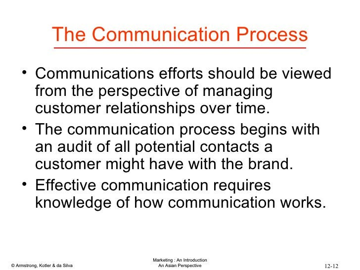 The Communication Process <ul><li>Communications efforts should be viewed from the perspective of managing customer relati...