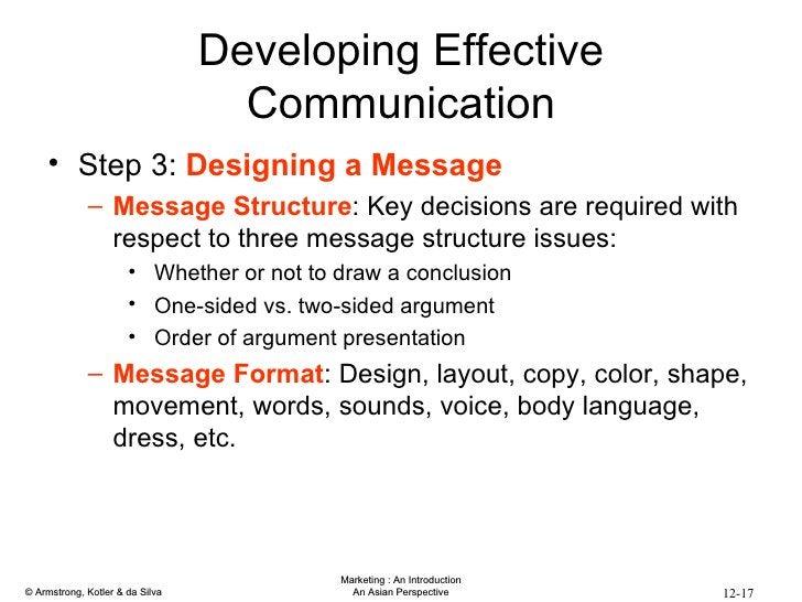 Developing Effective Communication <ul><li>Step 3:  Designing a Message </li></ul><ul><ul><li>Message Structure : Key deci...