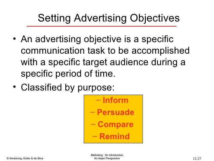Setting Advertising Objectives <ul><li>An advertising objective is a specific communication task to be accomplished with a...