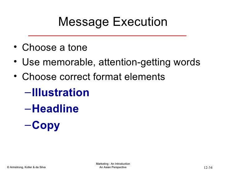 Message Execution <ul><li>Choose a tone </li></ul><ul><li>Use memorable, attention-getting words </li></ul><ul><li>Choose ...