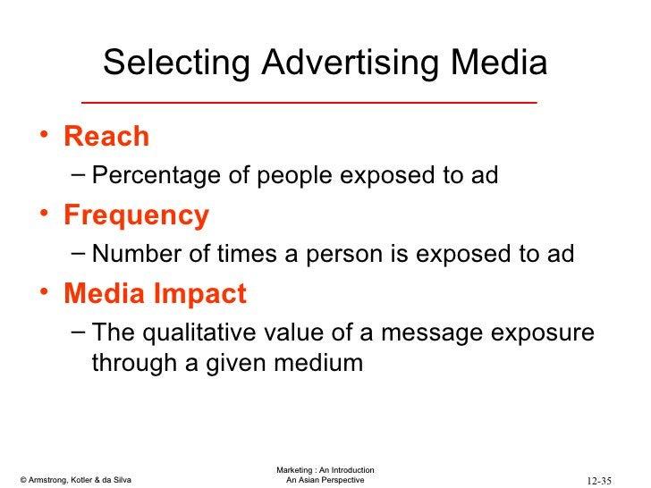 Selecting Advertising Media <ul><li>Reach </li></ul><ul><ul><li>Percentage of people exposed to ad </li></ul></ul><ul><li>...