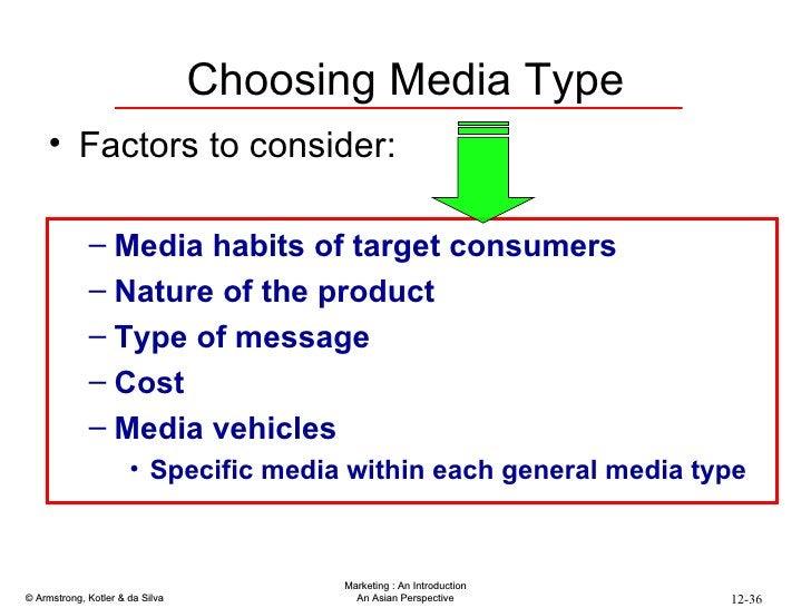 Choosing Media Type <ul><li>Factors to consider: </li></ul><ul><ul><li>Media habits of target consumers </li></ul></ul><ul...