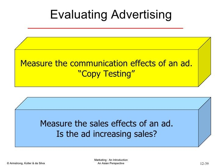 """Evaluating Advertising Measure the communication effects of an ad. """" Copy Testing"""" Measure the sales effects of an ad. Is ..."""