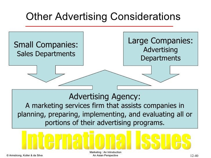 Other Advertising Considerations Small Companies: Sales Departments Large Companies: Advertising Departments International...