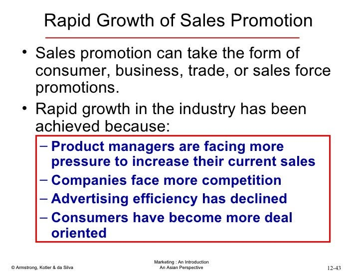 Rapid Growth of Sales Promotion <ul><li>Sales promotion can take the form of consumer, business, trade, or sales force pro...