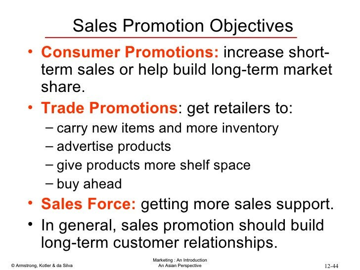Sales Promotion Objectives <ul><li>Consumer Promotions:  increase short-term sales or help build long-term market share. <...