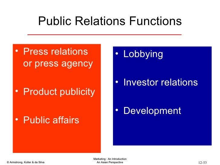 Public Relations Functions <ul><li>Press relations or press agency </li></ul><ul><li>Product publicity </li></ul><ul><li>P...
