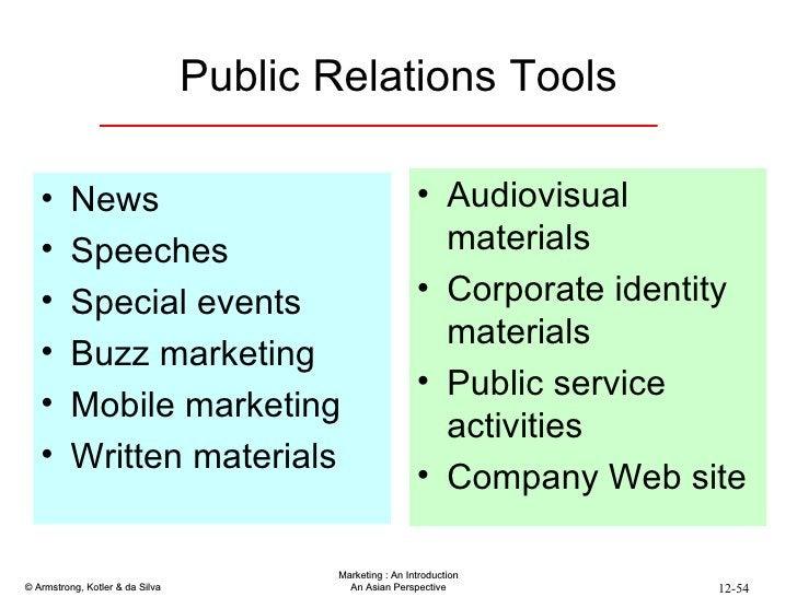 Public Relations Tools <ul><li>News </li></ul><ul><li>Speeches </li></ul><ul><li>Special events </li></ul><ul><li>Buzz mar...