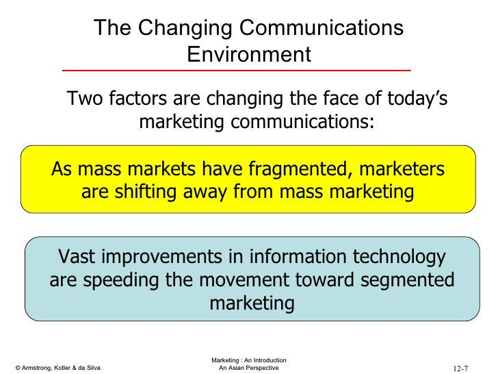 The Changing Communications Environment Two factors are changing the face of today's marketing communications: As mass mar...