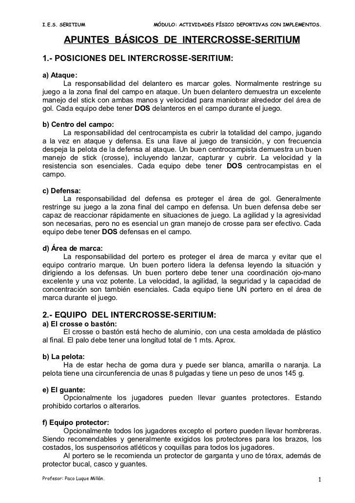 I.E.S. SERITIUM                   MÓDULO: ACTIVIDADES FÍSICO DEPORTIVAS CON IMPLEMENTOS.         APUNTES BÁSICOS DE INTERC...
