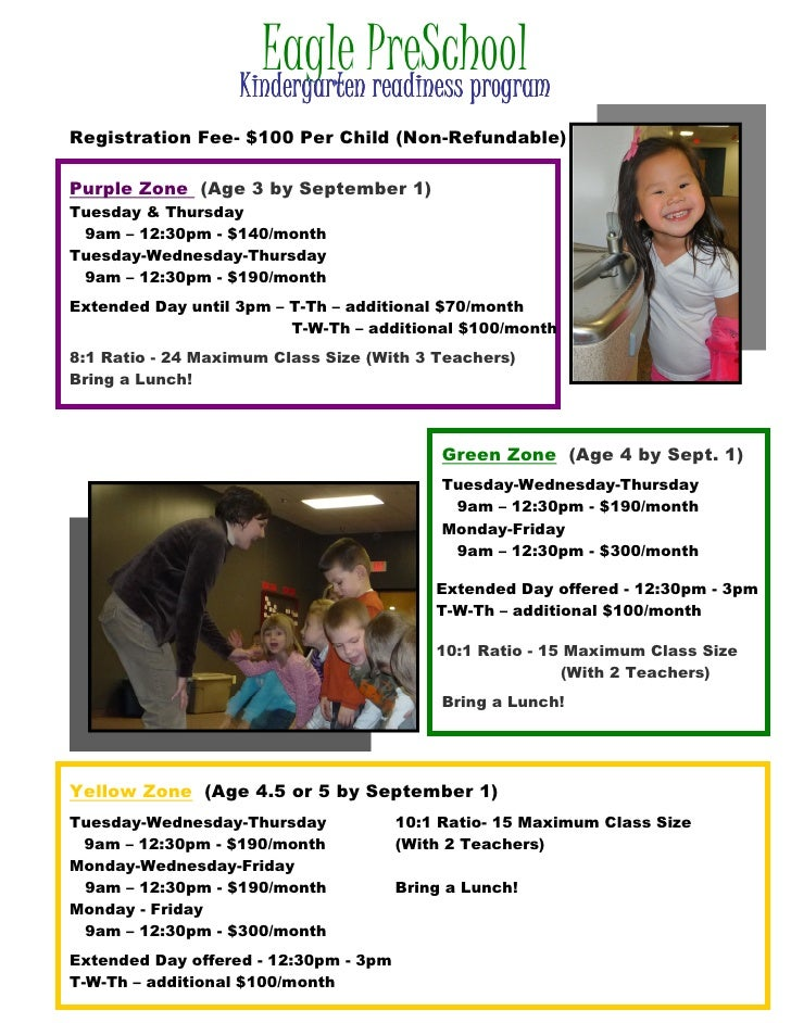 Eagle PreSchool                    Kindergarten readiness program Registration Fee- $100 Per Child (Non-Refundable)  Purpl...