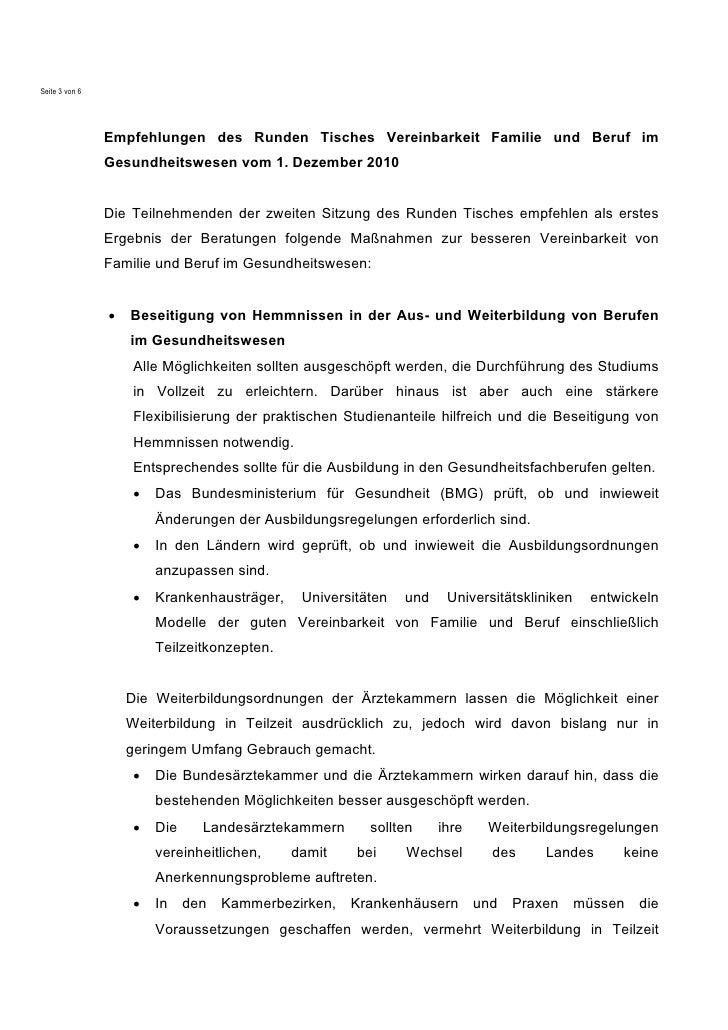 Seite 3 von 6                Empfehlungen des Runden Tisches Vereinbarkeit Familie und Beruf im                Gesundheits...